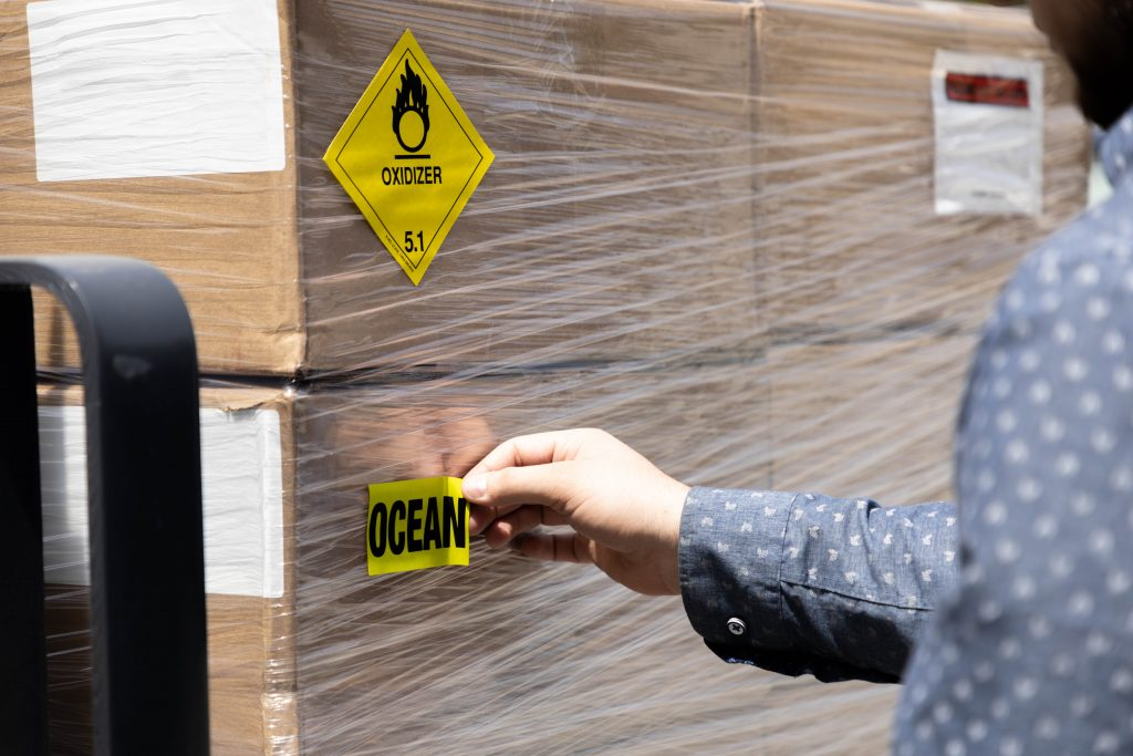 warehouse caution labels applied on package