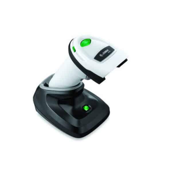 zebra ds2278 handheld scanner white inside of cradle